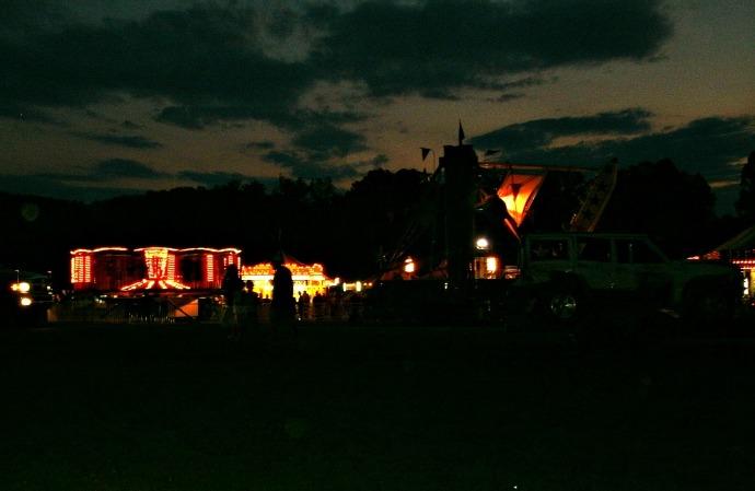 Fair lights at dusk heading home 2014