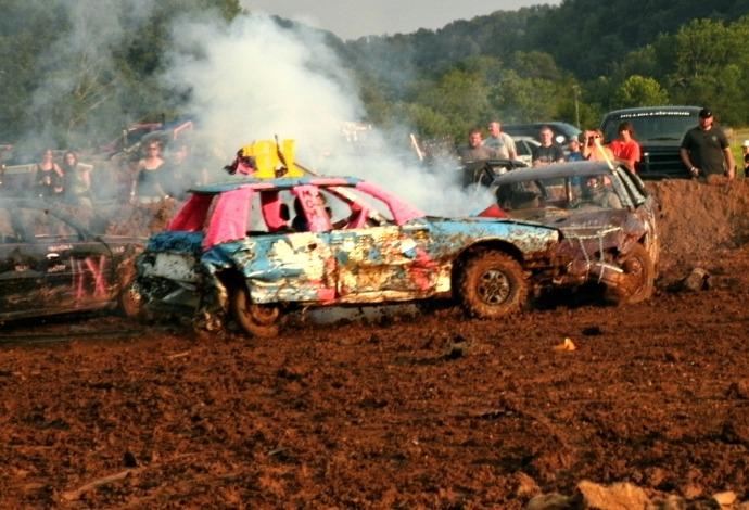 Demolishen Derby car smoking from raditator