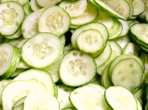 close up of sliced cucumbers