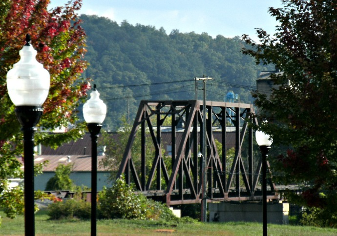 view of train bridge from The Depot Restaurant.