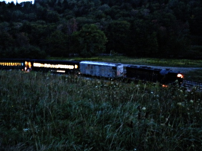 night train parked at Linen landing WV. Darkest location in the state of WV