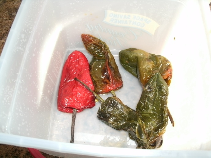 Roasted chilies in bucket ready to peal