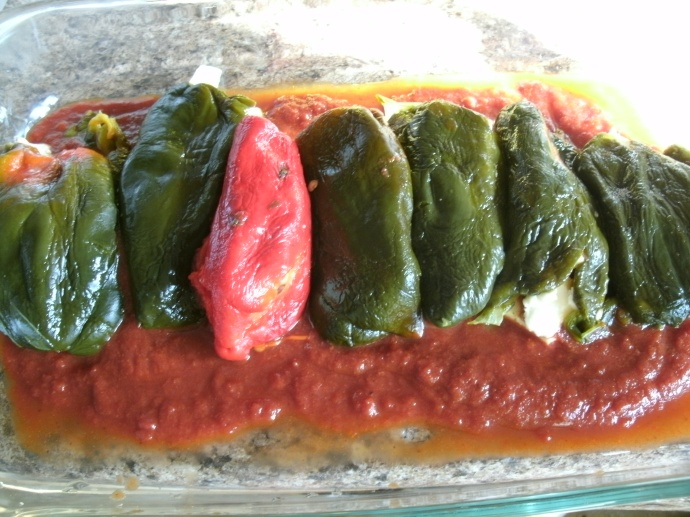 Chilies stuffed with cheese