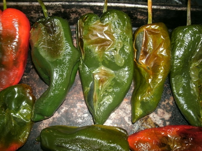 Roasted Pablano chili peppers
