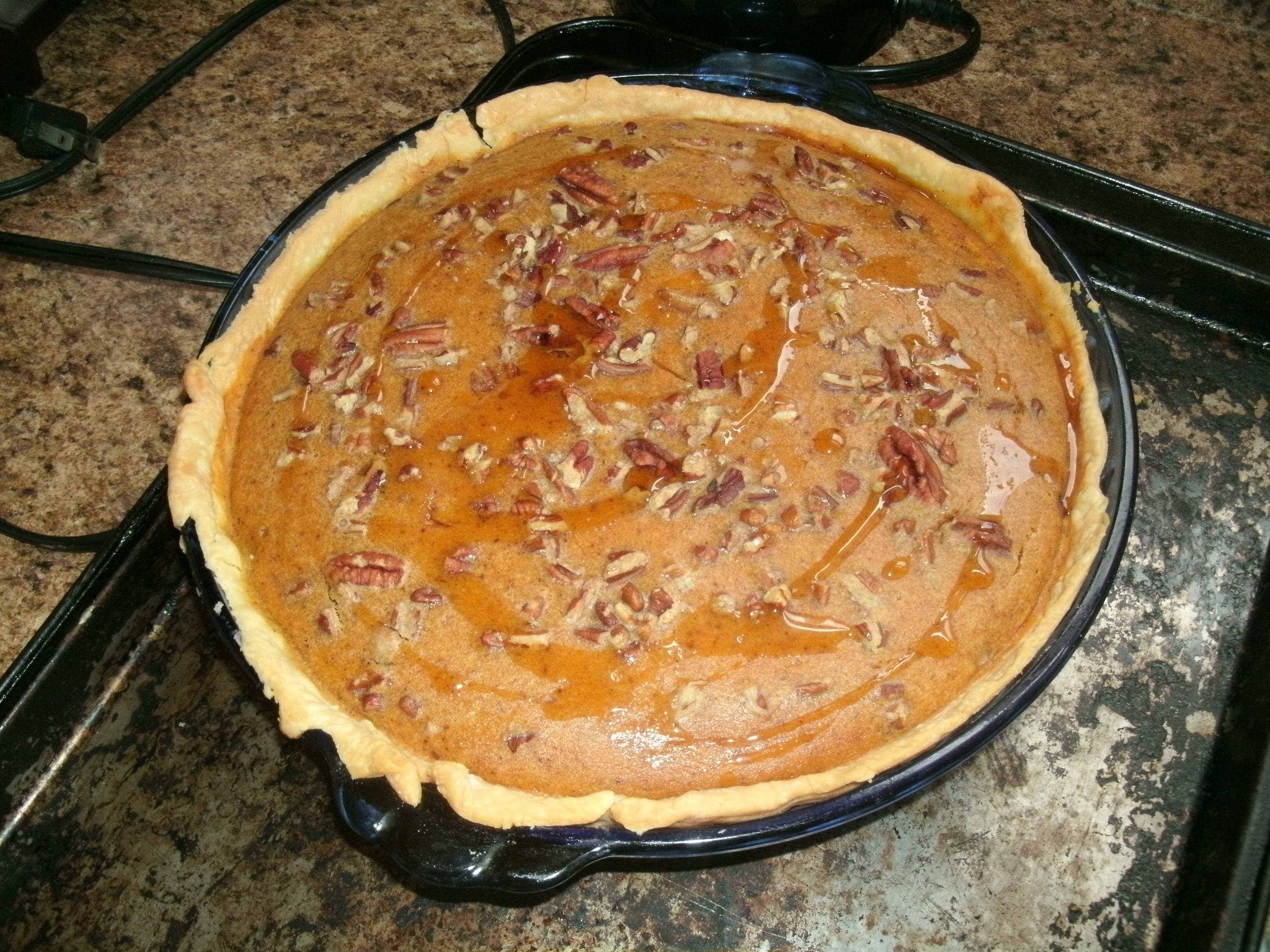 Sweet Potato Pie With Maple Candied Pecans Recipe — Dishmaps