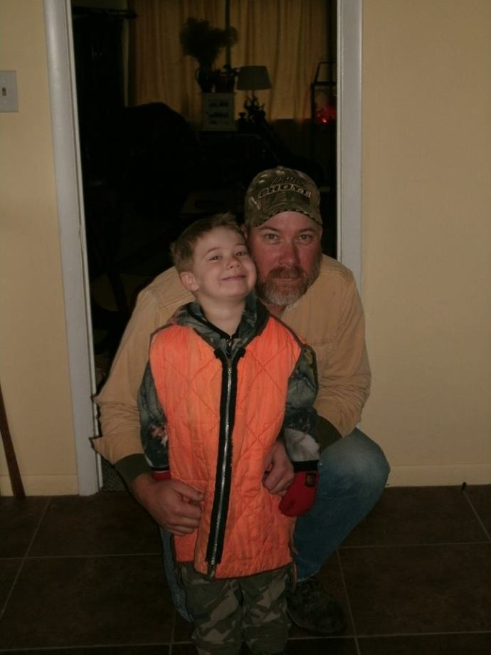 Tom and Christopher getting ready to hunt together age 5