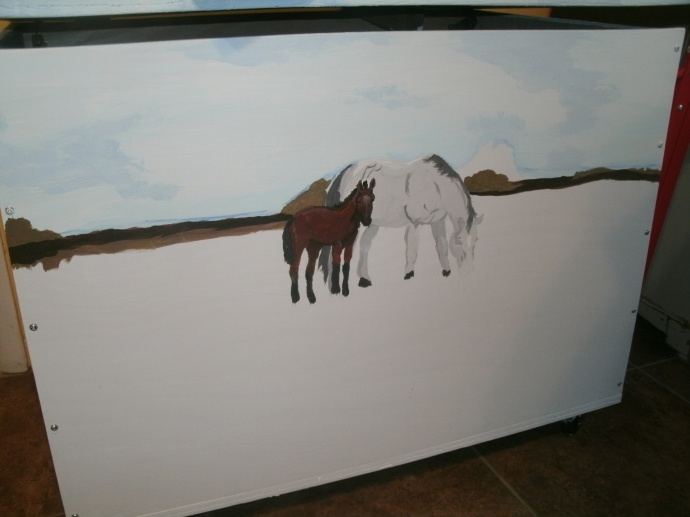 blocked in colors of horse toy box