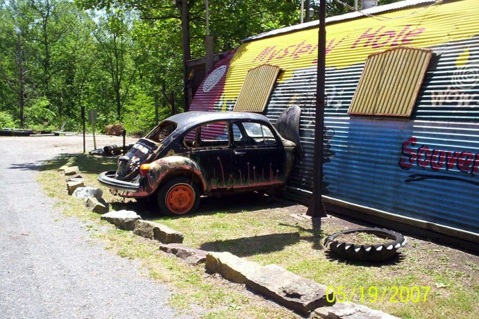 side view of VW bug at the Mystery Hole