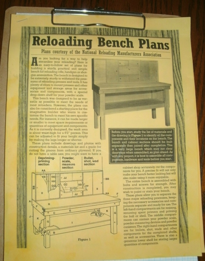 Downloadable plans for a reloading bench