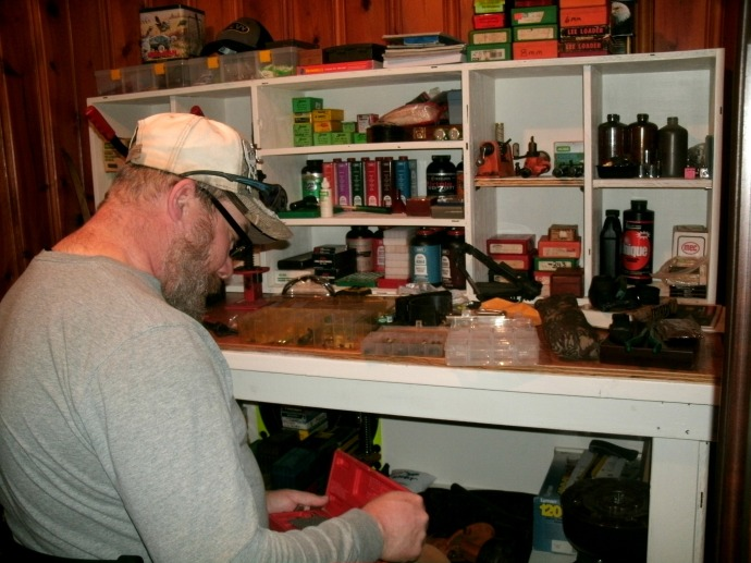 Tom getting ready to use his new reloading bench