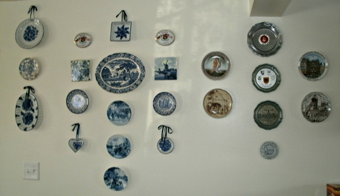 kitchen wall full of plates
