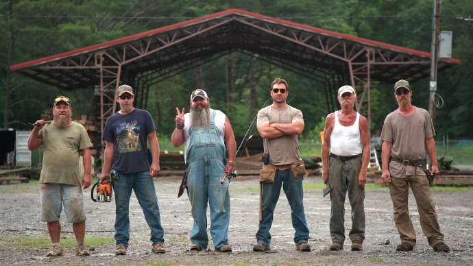 Barnwood Builders promotional photo. right to left is Tim, Sherman, Bryan, Mark,Johnny, Graham