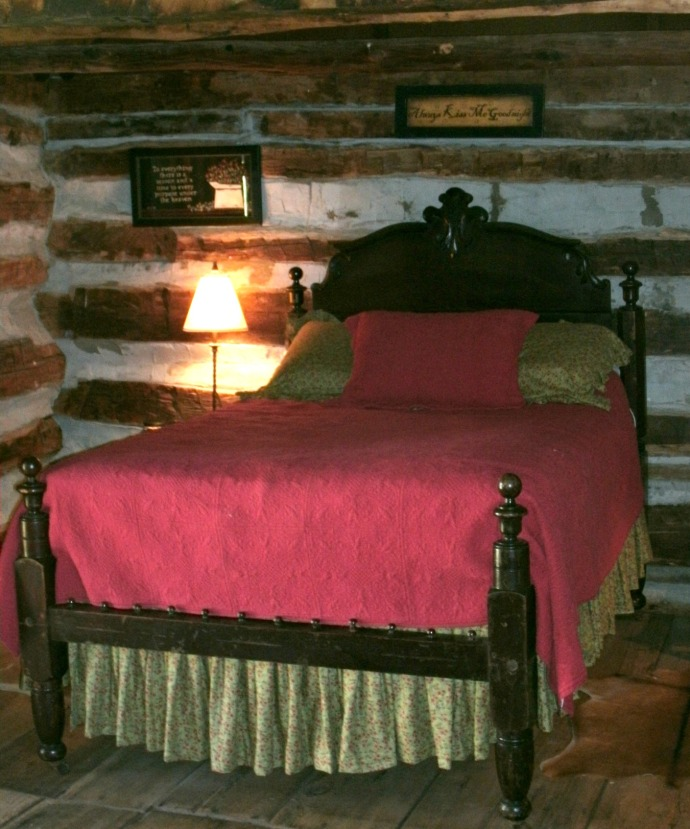 bed inside cabin at Spiker Farm