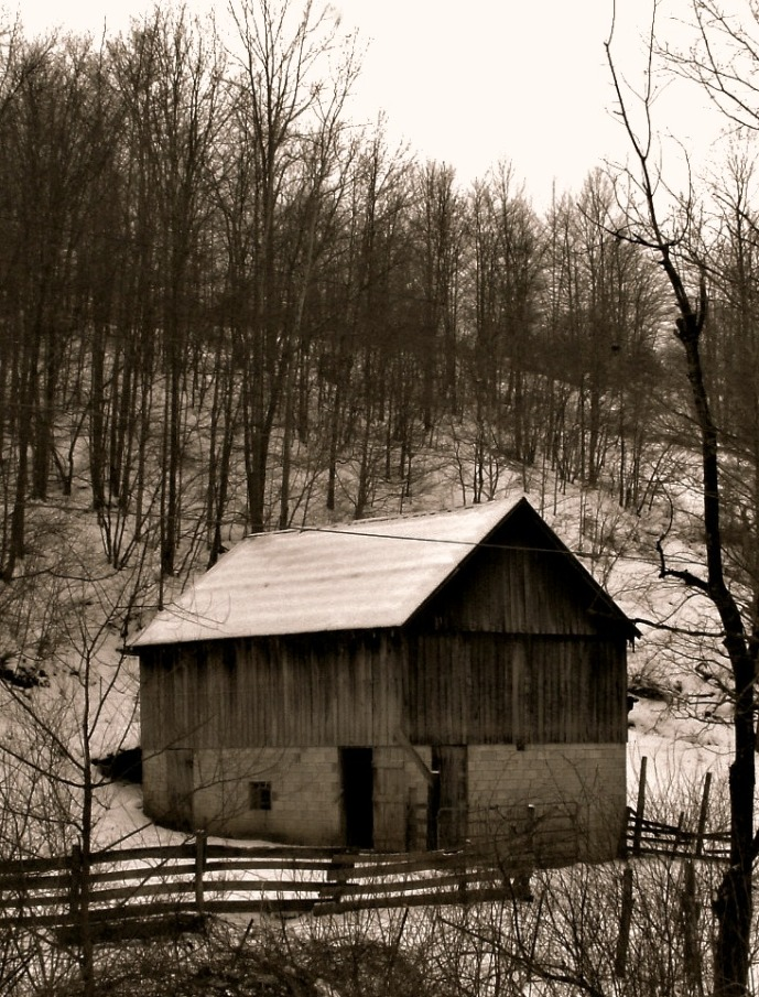 Cattle Barn in Walkers Vill, West Virginia tinted to look old
