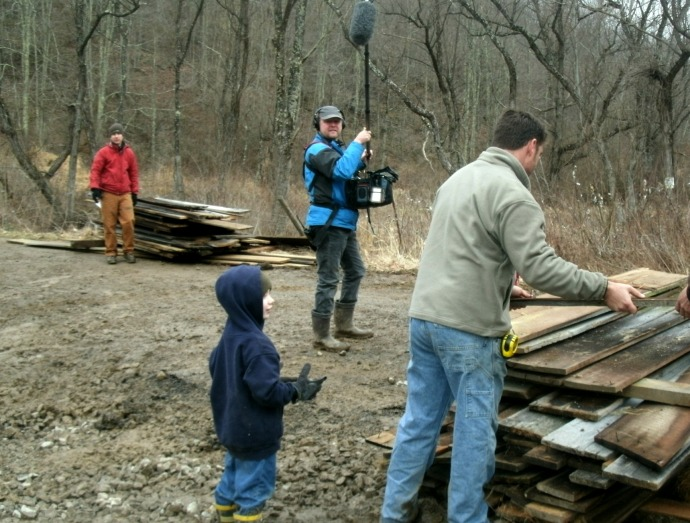 Christopher with Star of Branwood builders Mark Bowe  loading lumber int o our truck