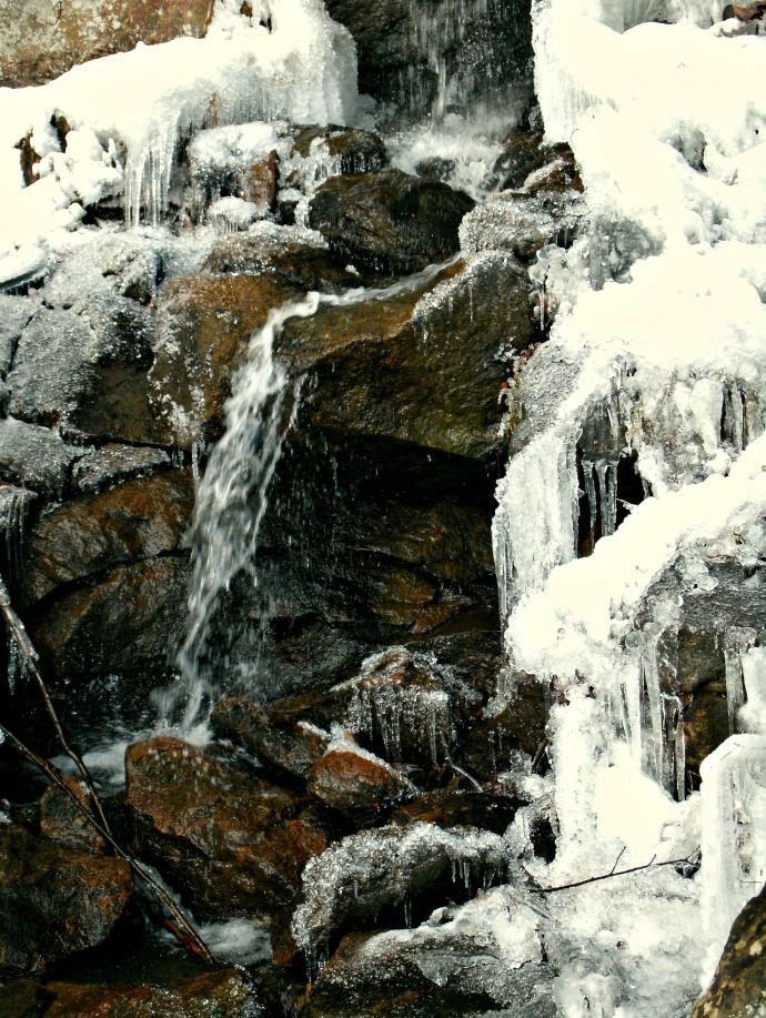 Water falling on icy rocks at Napier. WV