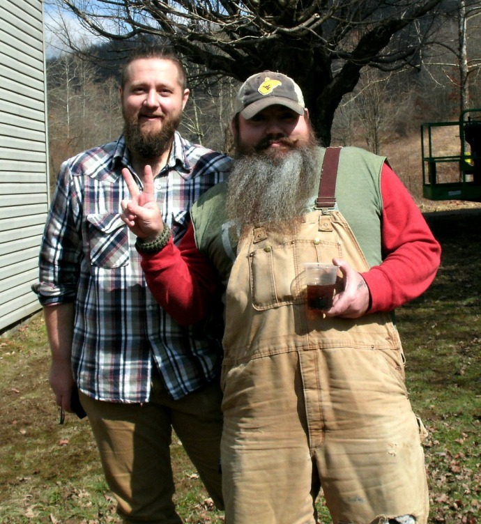 Josh Evans owner of Second and Center Cafe with Bryan from the Barnwood builders