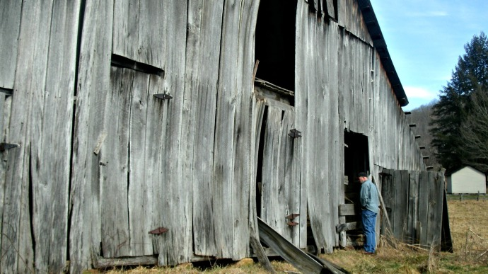 Tom looking at barn