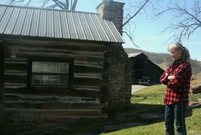 Sue Ann Spiker and her 1700's cabin