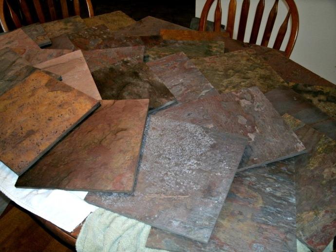 drying slate tiles