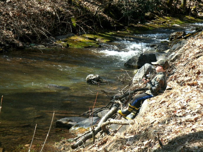 Christopher fishing along a trout stream in Pendleton County West Virginia