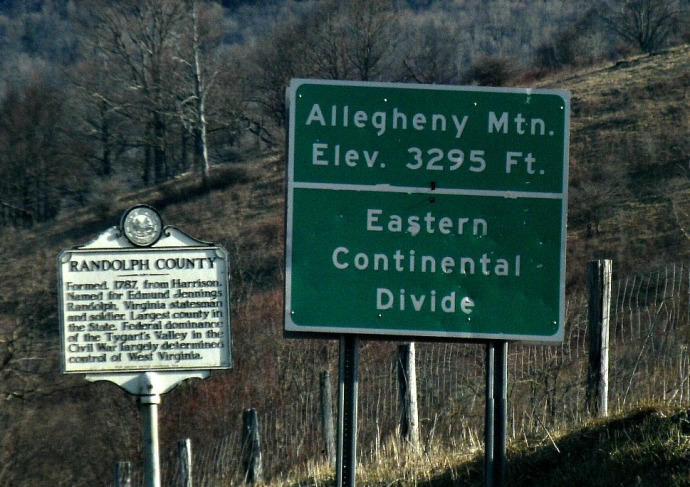 Sign showing the Eastern Continental divide at the boarder of Randolph and Pendleton Counties