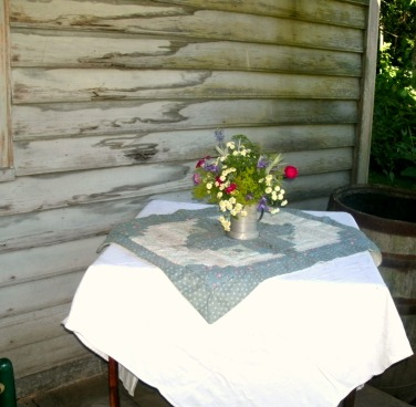 Porch table at Home Stead Cabin Seneca Rocks State Park
