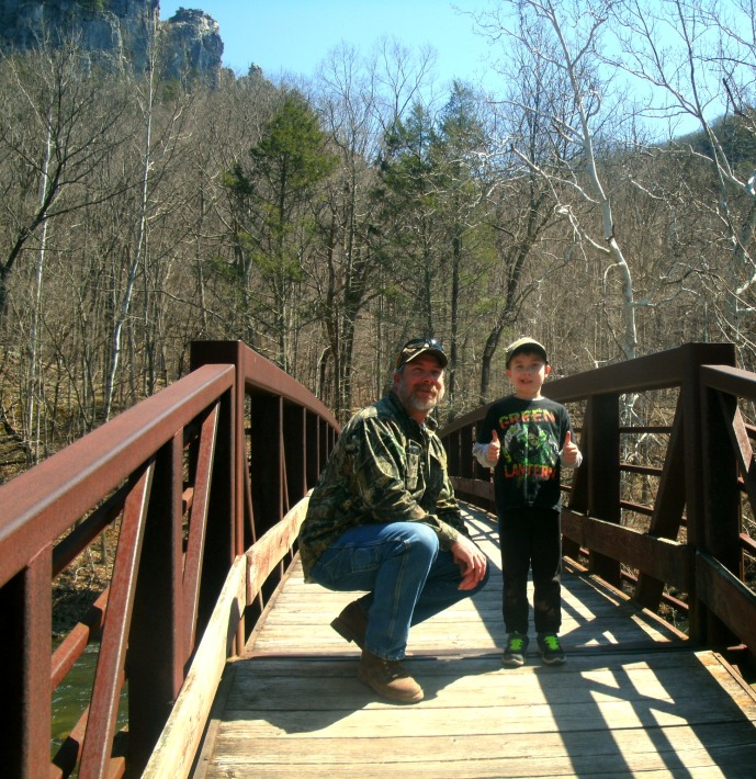Tom and Christopher on the bridge trail at the base of Seneca Rocks