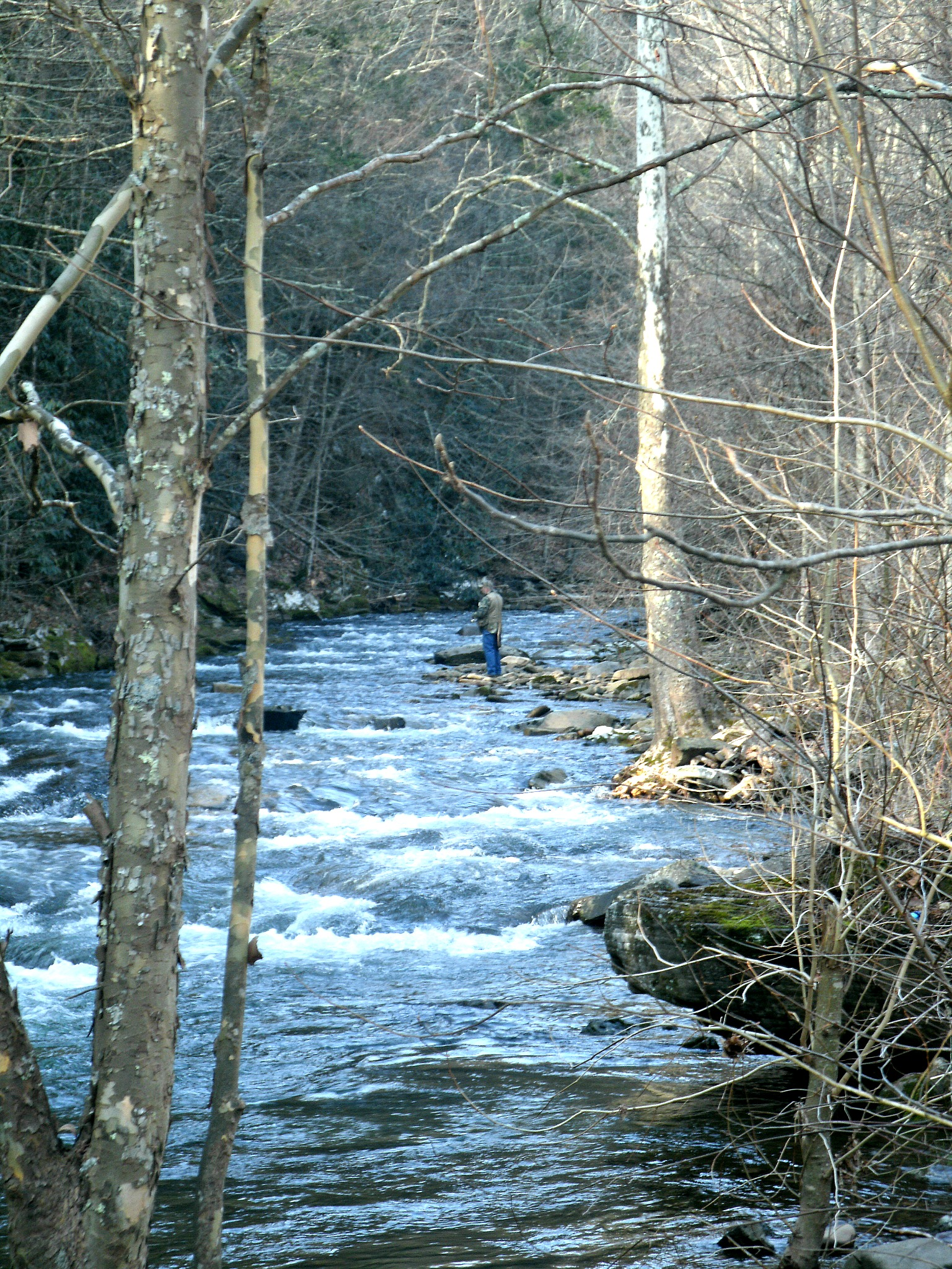 Tom fishing on a cold Easter Morning