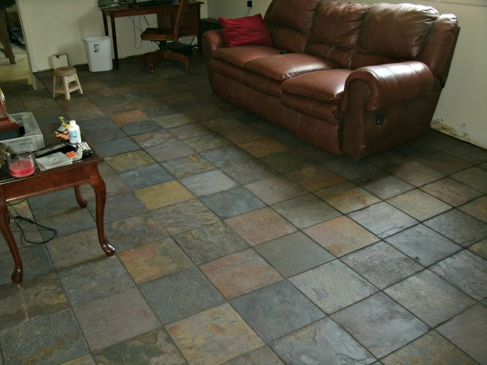 Slate tile floors with grout and sealer