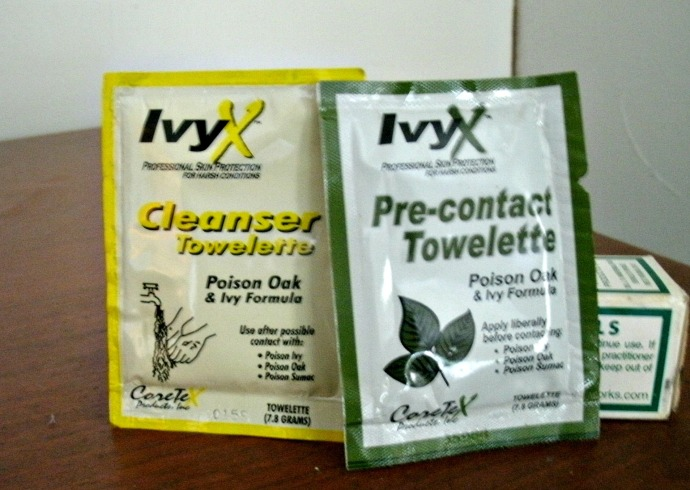 Ivy-x towelettes for pre contact and cleanser for after contact