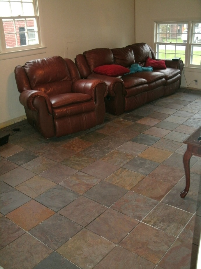 Family room floor with slate tile in place