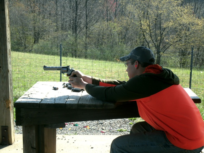 Cody Powers at the range having family time