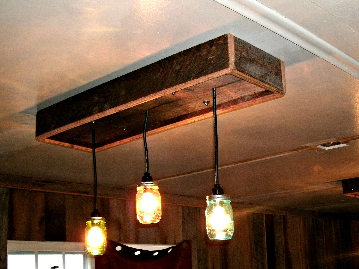 Mason jar chandelier a diy project with our barn wood update west mason jar chandalier made from old barn wood arubaitofo Choice Image