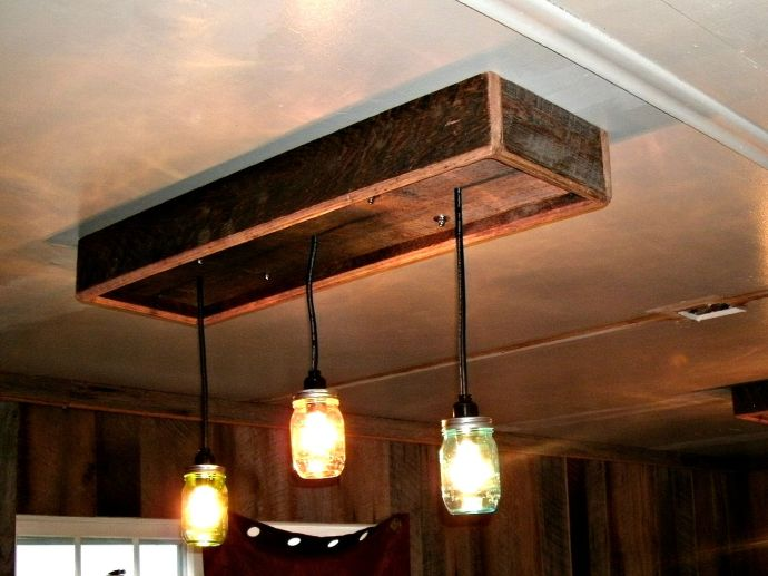 Mason Jar chandalier made from old barn wood