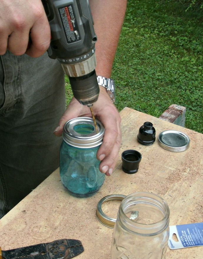 drilling 4 vent hole into lid of Mason Jar light shade