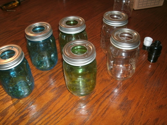 Mason Jar light shades... blue green and clear ready to add to light fixtuer