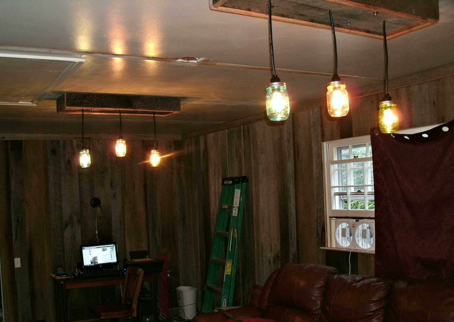 Mason jar chandelier a diy project with our barn wood update two mason jar light fixtures installed and working yea arubaitofo Gallery
