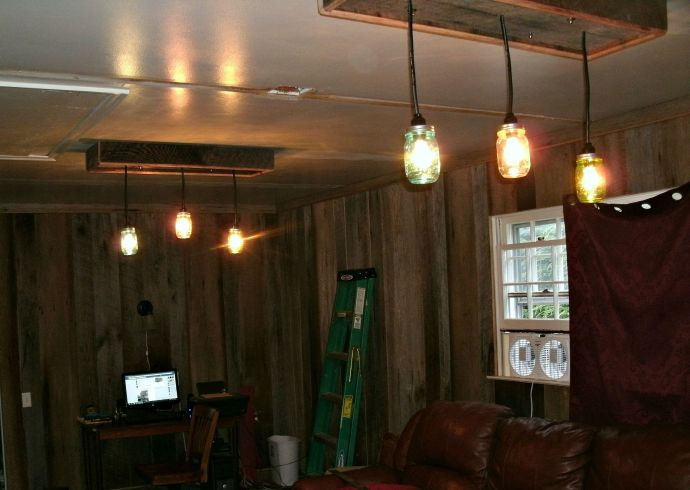 two mason jar light fixtures installed and working ... yea!
