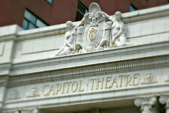 Pediment of Capitol Theatre/ Theater, Wheeling WV