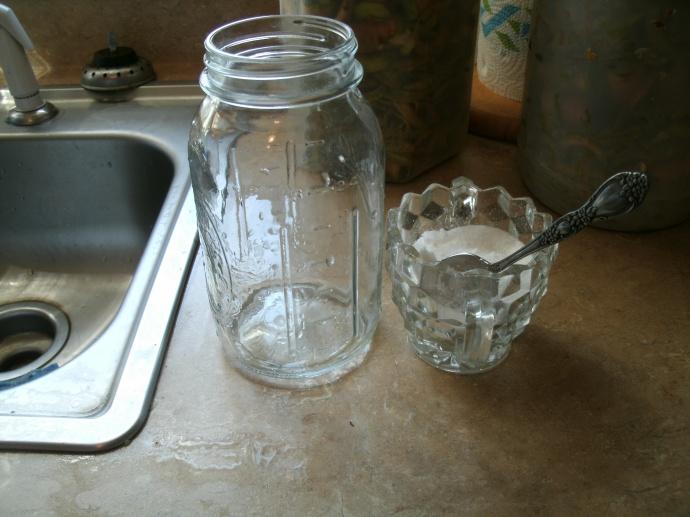 Quart jar and sugar bowel