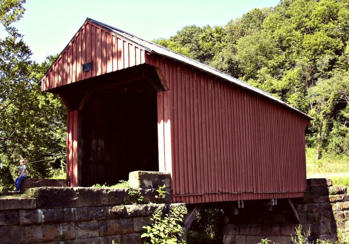 South side of Walkersville Covered Bridge in Lewis County, WV