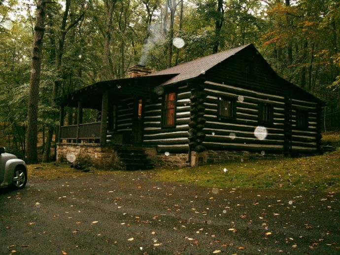 Cabin at lost River State Park in the rain.