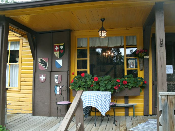 front porch of the Hutte Swiss Restaurant, Helvetia, WV