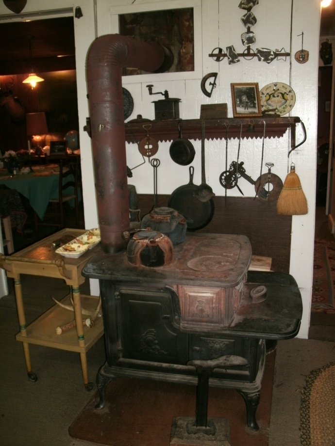 Wood stove used to heat our dinning room at the Hutte House Swiss Restraunt