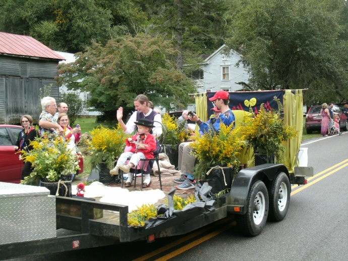 Swiss family on float