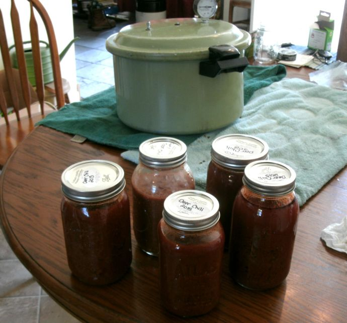 Home canned Venison chili with canner