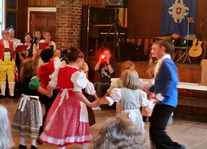 Young Swiss folk dancers