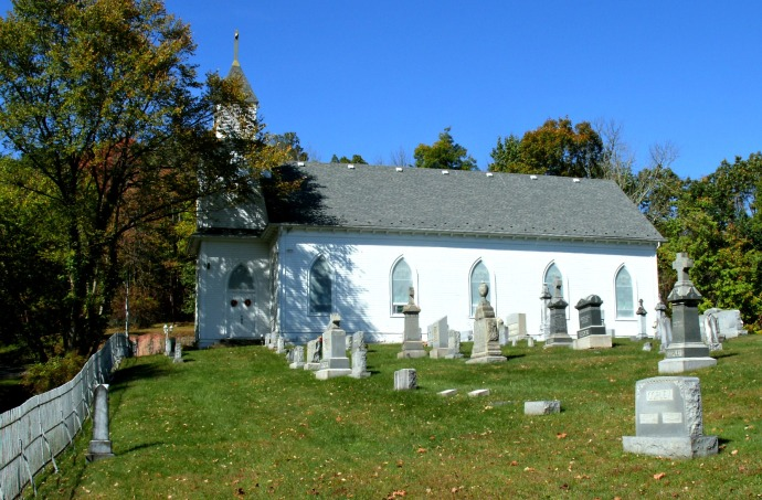 Cemetery and Church of St Bernard, showing headstone of John Kennedy