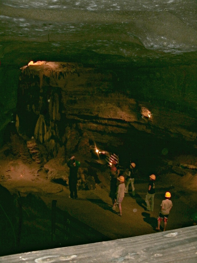 looking down on main room used by Indians at Seneca Caverns, Wv